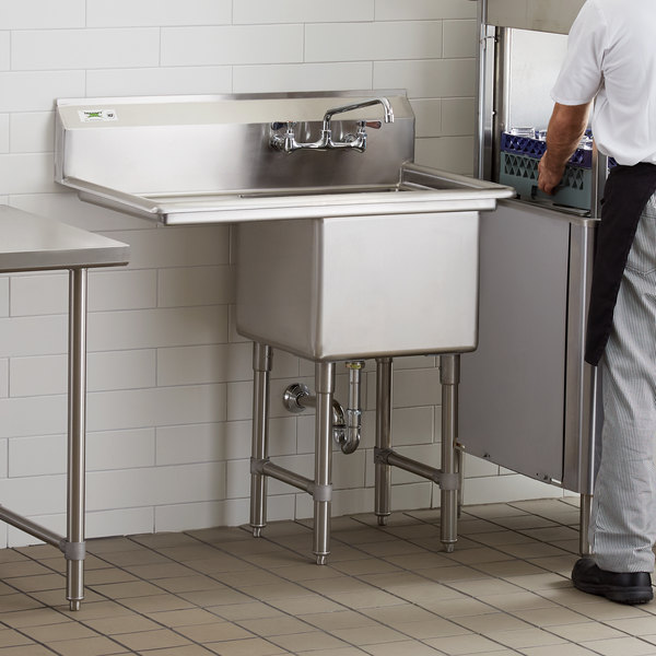 regency 38 1 2 16 gauge stainless steel one compartment commercial sink with 1 drainboard 18 x 18 x 14 bowl