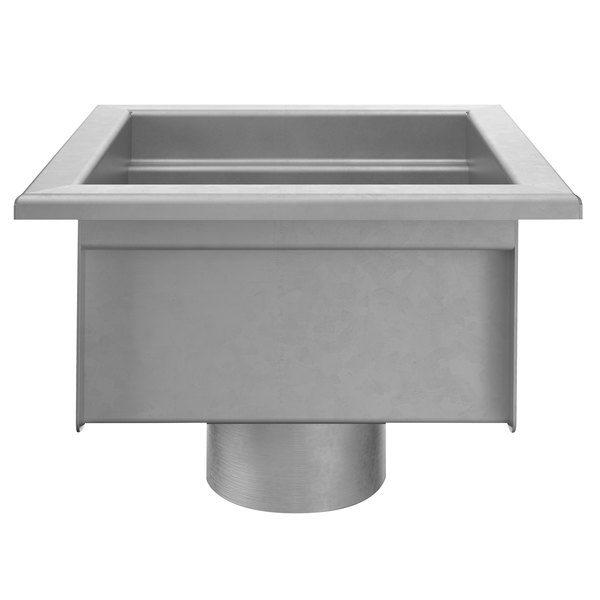 zurn z1750 2nh sdc 12 x 12 stainless steel floor sink with 2 no hub connection and 6 sump depth