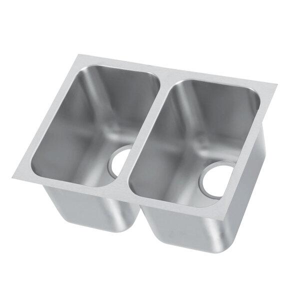 vollrath 12102 1 27 x 16 2 compartment 20 gauge stainless steel weld in undermount sink 9 1 4 deep
