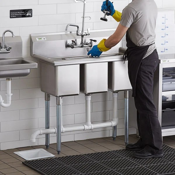 regency 39 16 gauge stainless steel three compartment commercial sink with galvanized steel legs and without drainboards 10 x 14 x 12 bowls