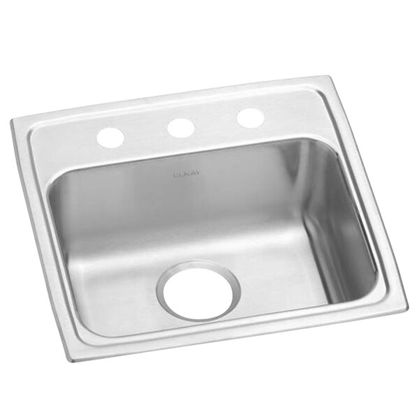 elkay lrad1919653 lusterstone classic single bowl ada drop in sink with three faucet holes 16 x 13 1 2 x 6 3 8 bowl