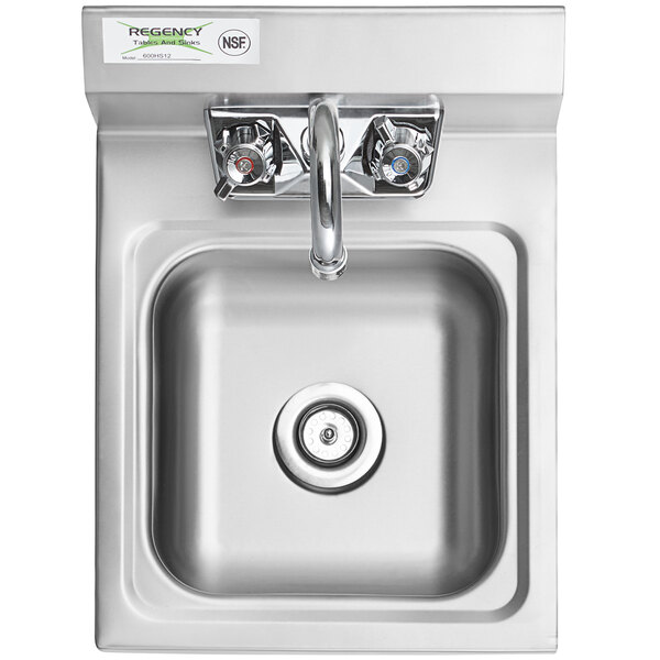 regency 12 x 16 wall mounted hand sink with gooseneck faucet