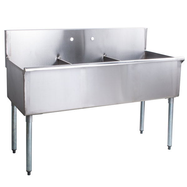 regency 48 16 gauge stainless steel three compartment commercial utility sink 16 x 21 x 14 bowls