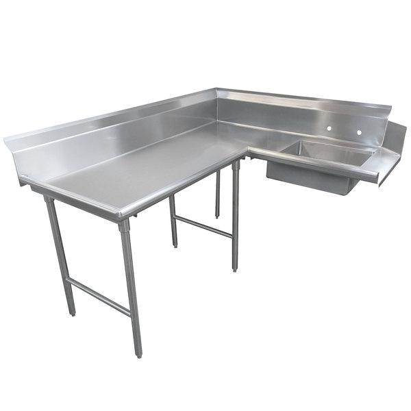 advance tabco dts k30 48 4 spec line stainless steel soil l shape dishtable