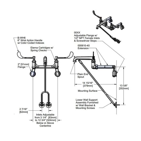 t s b 0650 02 wall mount mop sink faucet with 8 adjustable arm centers 6 wrist action handles extended lower support and eterna cartridges