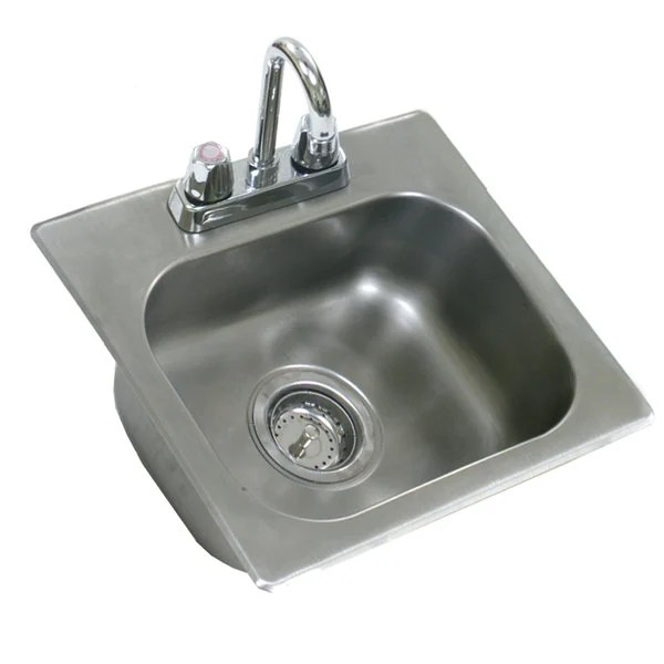 eagle group sr19 16 8 1 one compartment stainless steel drop in sink with deck mount faucet and swing nozzle 20 x 16 x 8 bowl