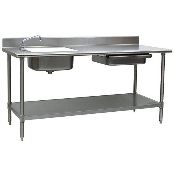 eagle group pt 3096 stainless steel prep table with sink drawer cutting board and undershelf 96