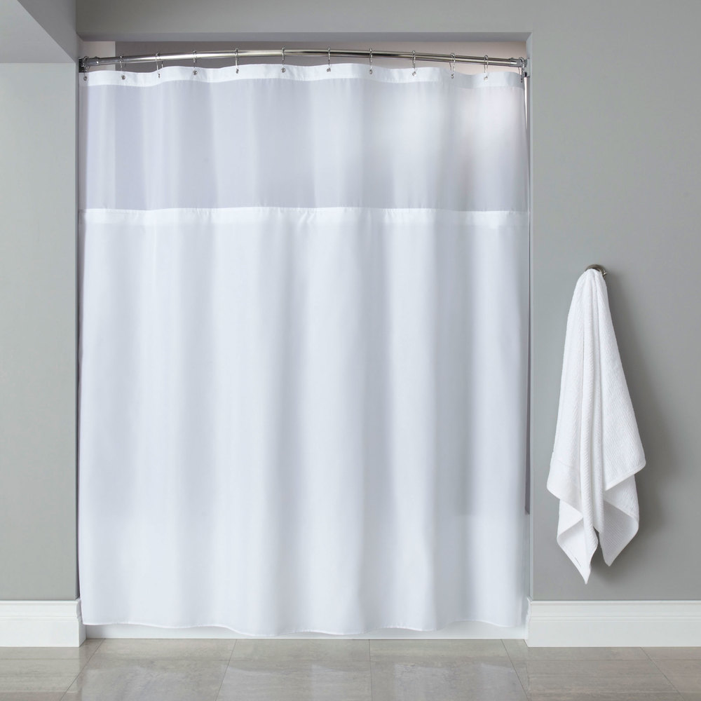 Hooked HBG40MYS01SL White Polyester Premium Shower Curtain With Buttonhole Header Its A Snap