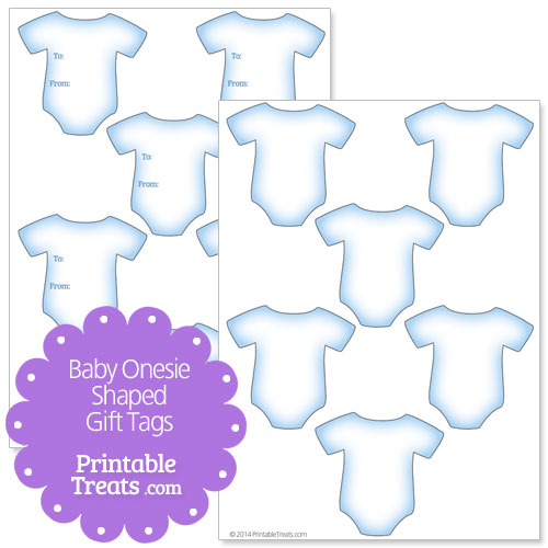 Blue Baby Onesie Shaped Gift Tags Printable