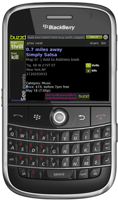 Buzzd: Free Location-based City Guide for BlackBerry