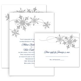 Snowflake Sparkle Invitation With Free Respond Postcard