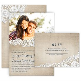 Burlap And Lace Frame Invitation With Free Response Postcard