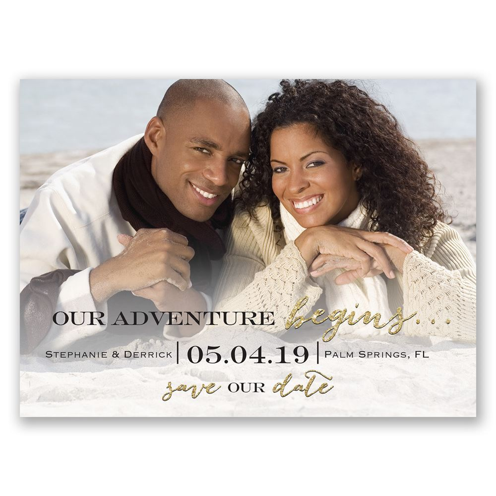 Next Adventure Faux Gold Glitter Save The Date Card Ann