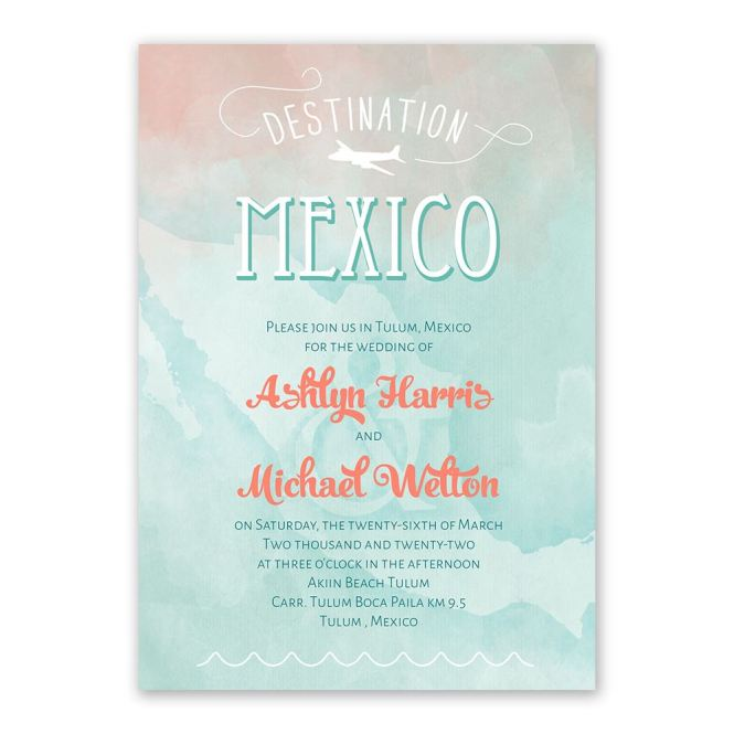 Destination Mexico Wedding Invitation Ann S Bridal Bargain