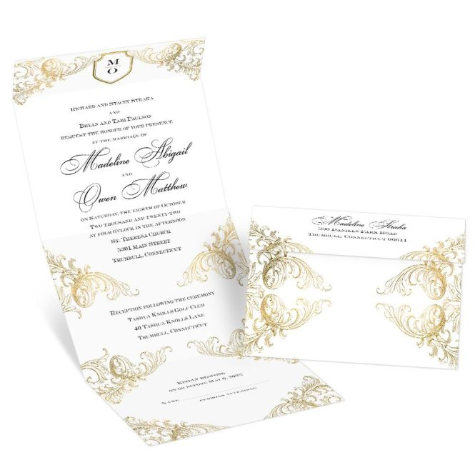 Gold Flourish Seal And Send Invitation