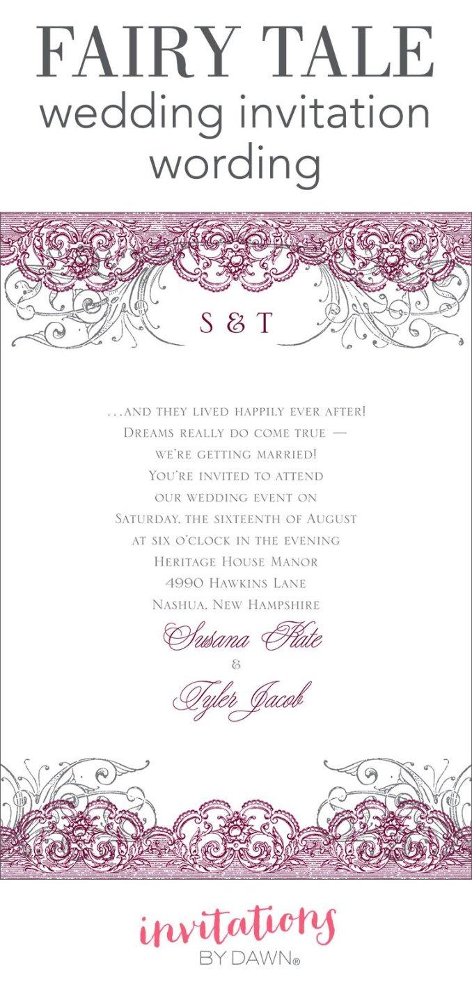Wedding invitation outline newsinvitation fairy tale wedding invitation wording stopboris Gallery