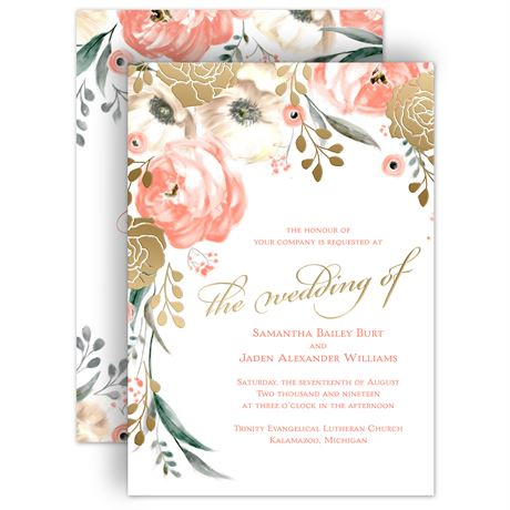 Whimsical Rose Gold Foil Invitations