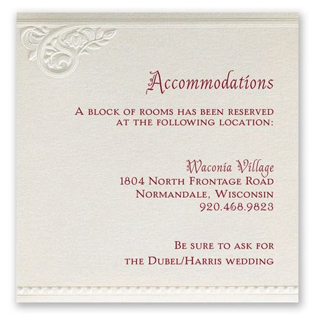 Pearls And Lace Accommodations Card Invitations By Dawn