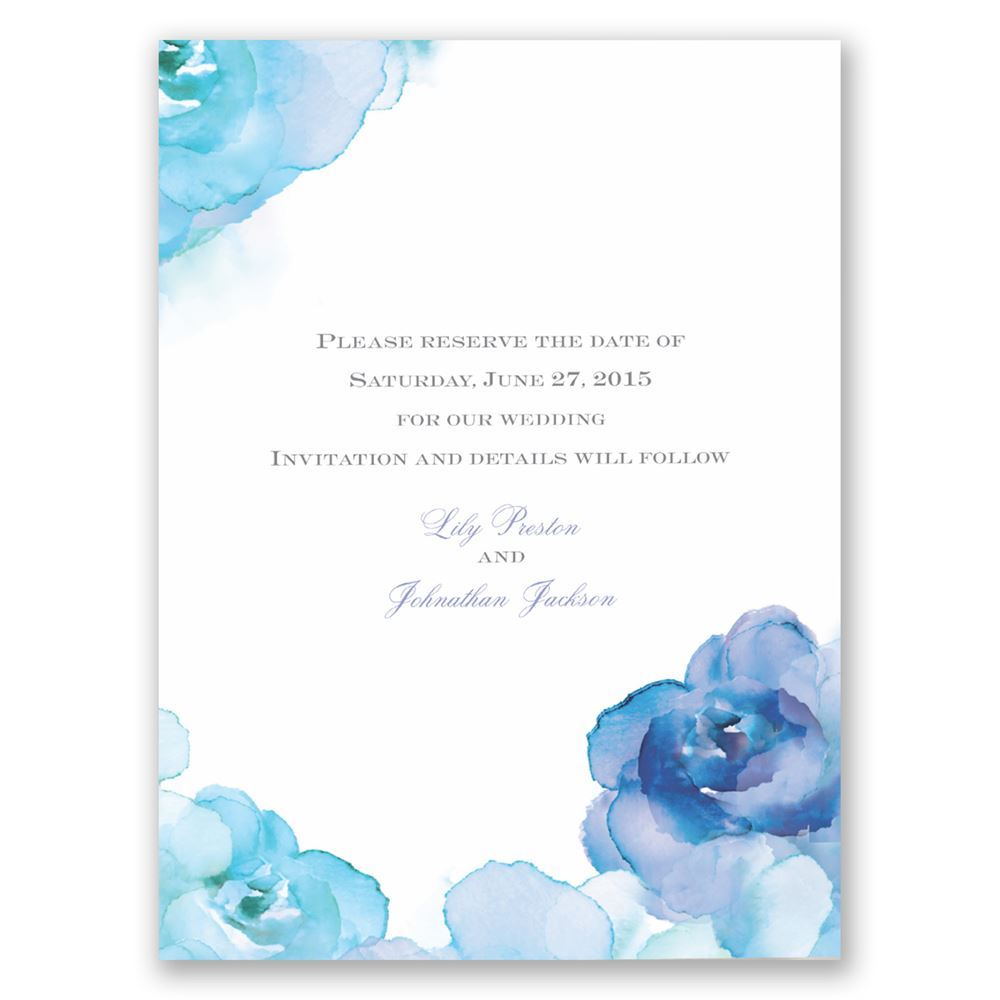 Watercolor Roses Save The Date Card Invitations By Dawn