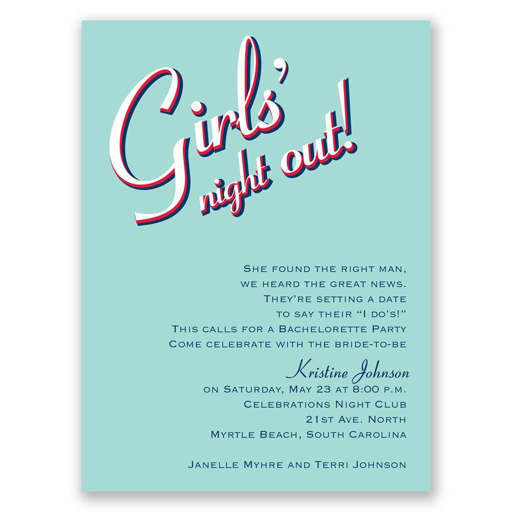 Night Out Bachelorette Party Invitation Invitations By Dawn