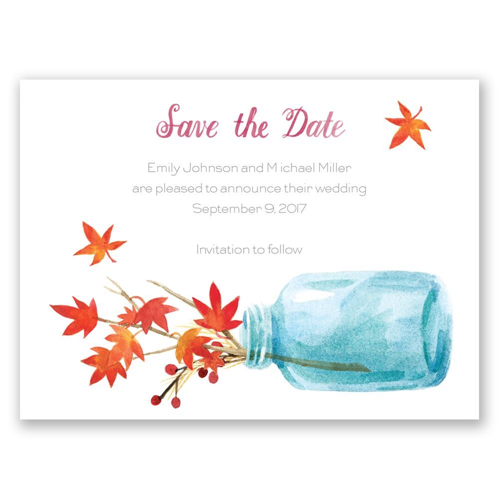 Autumn Arrangement Save The Date Card Invitations By Dawn