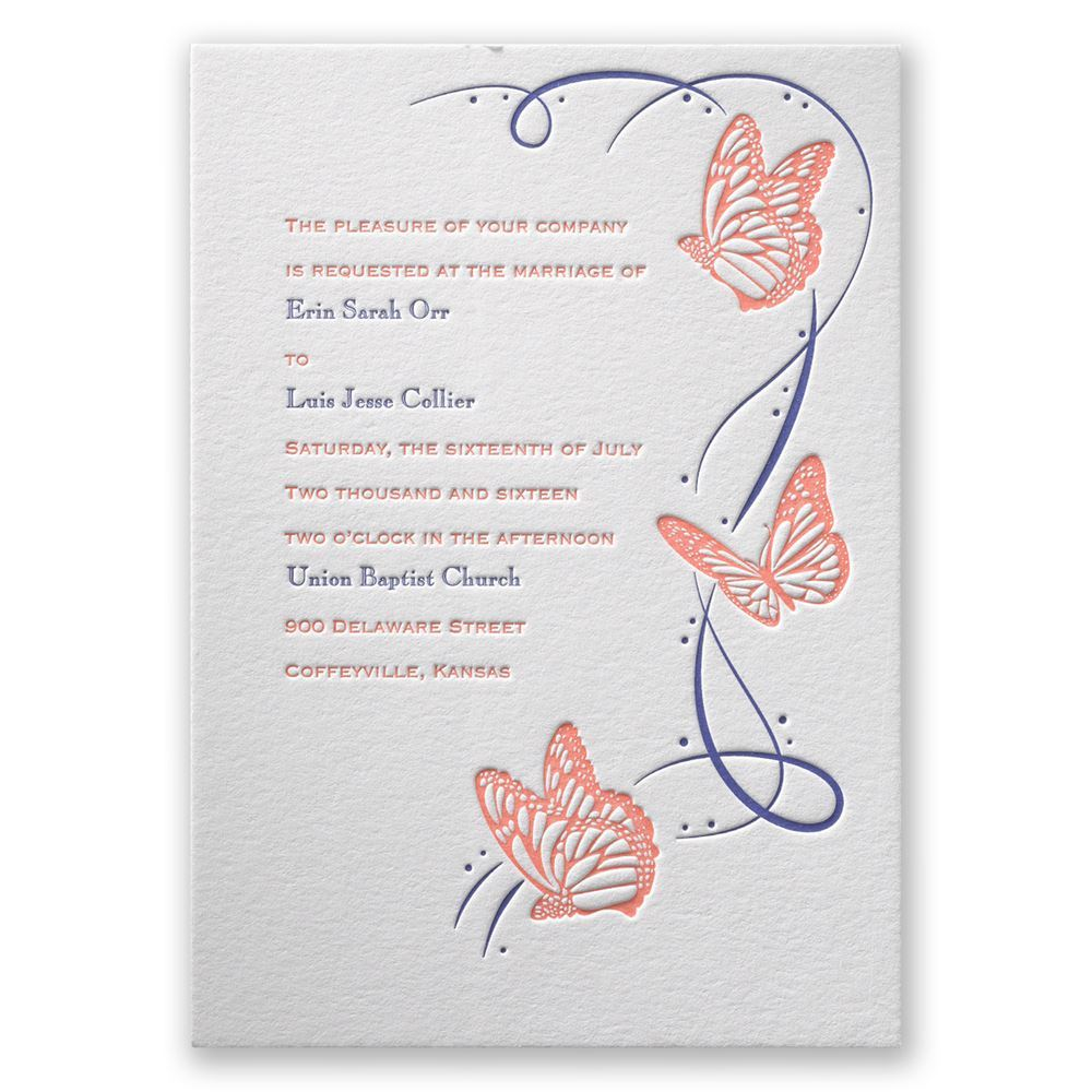 Butterfly Breeze Letterpress Invitation Invitations By Dawn