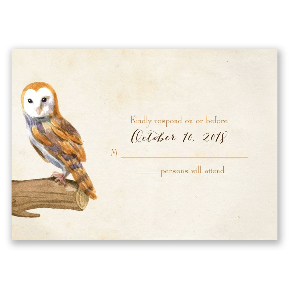 Vintage Owls Response Card Invitations By Dawn