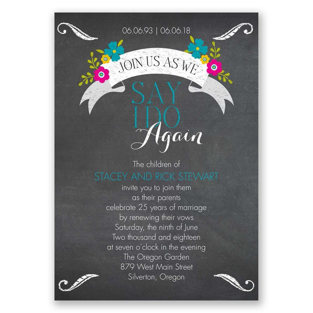 Chalkboard And Wildflowers Vow Renewal Invitation