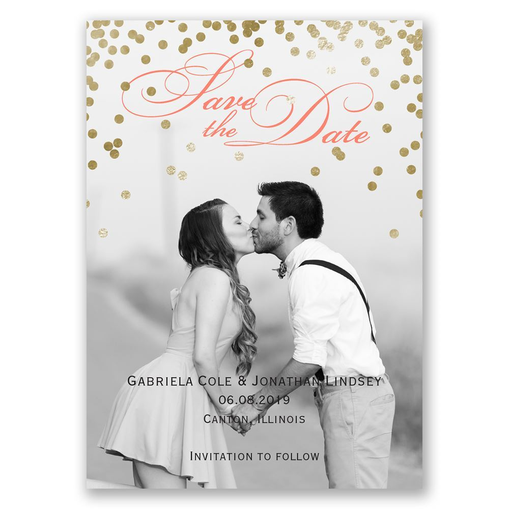 Gold Polka Dots Save The Date Magnet Invitations By Dawn