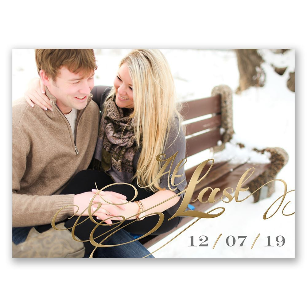 At Last Foil Save The Date Card Invitations By Dawn