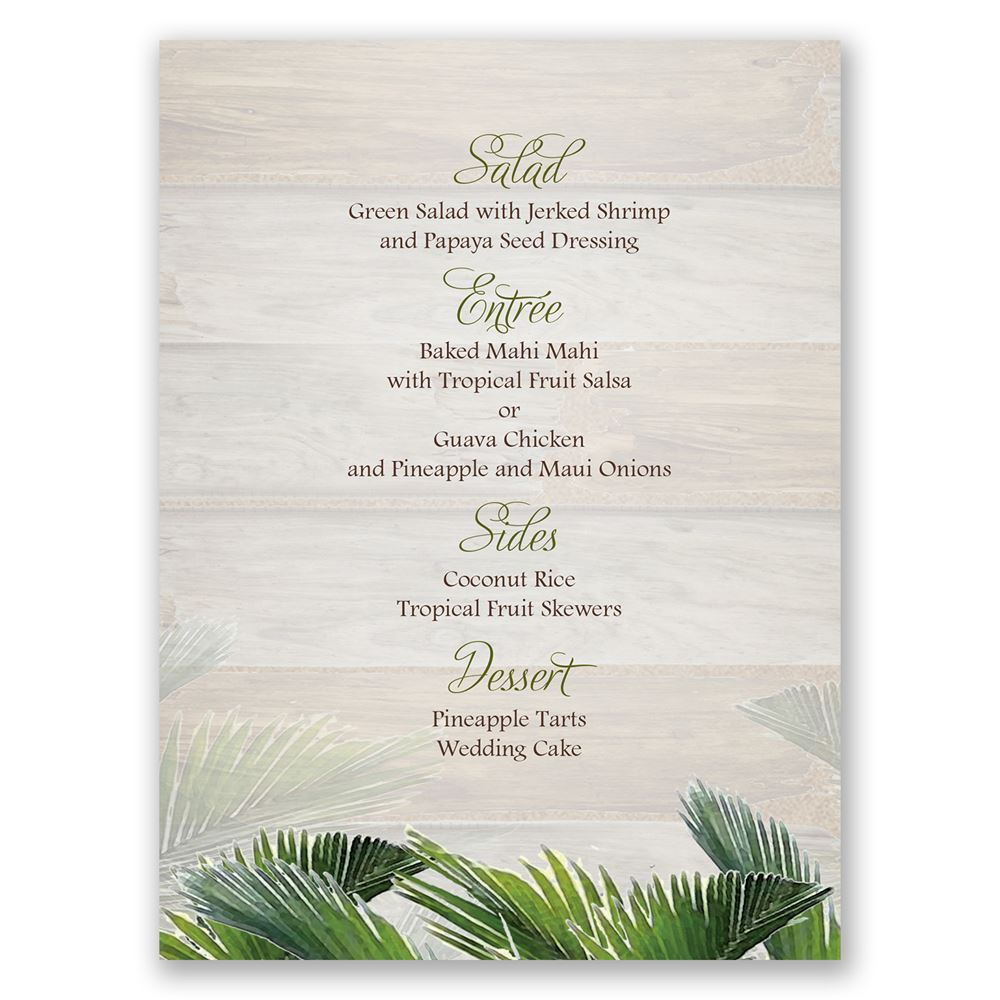 Palm Tree Paradise Menu Card Invitations By Dawn