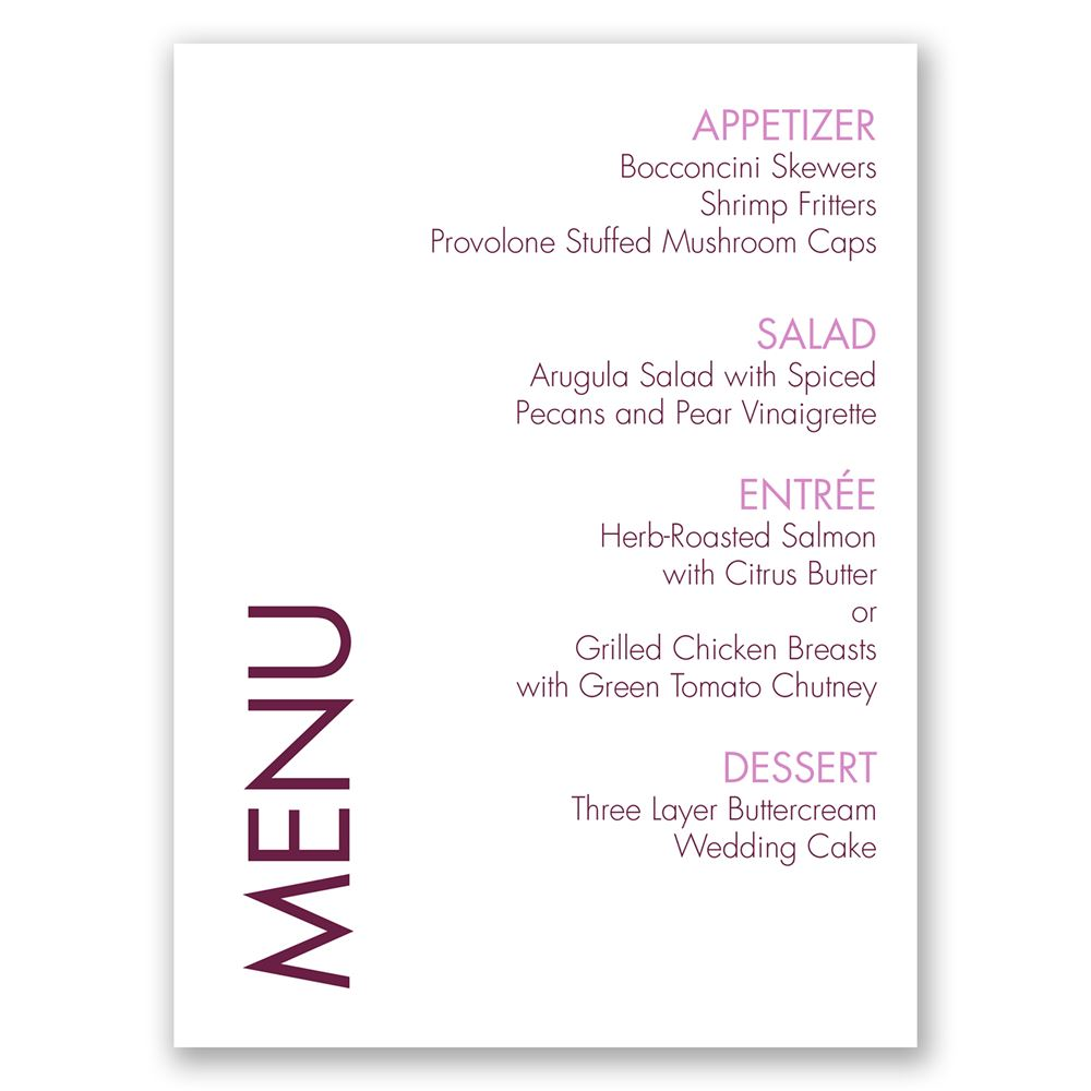 Sweet And Simple Menu Card Invitations By Dawn