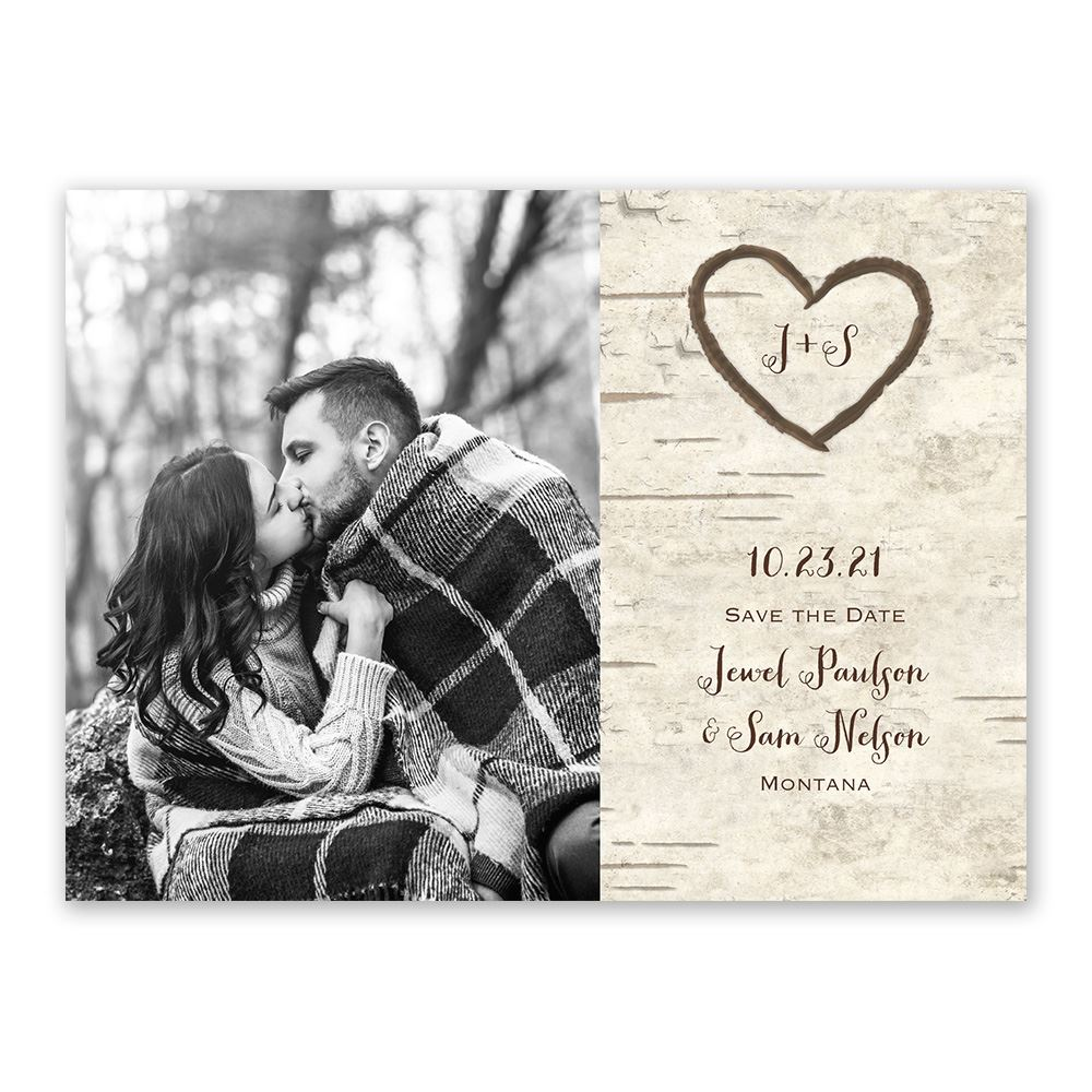 Birch Tree Carvings Save The Date Card Invitations By Dawn
