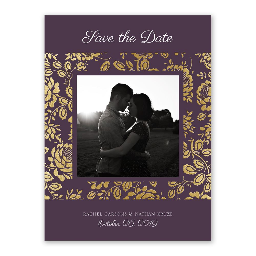 Vintage Flair Foil Save The Date Card Invitations By Dawn