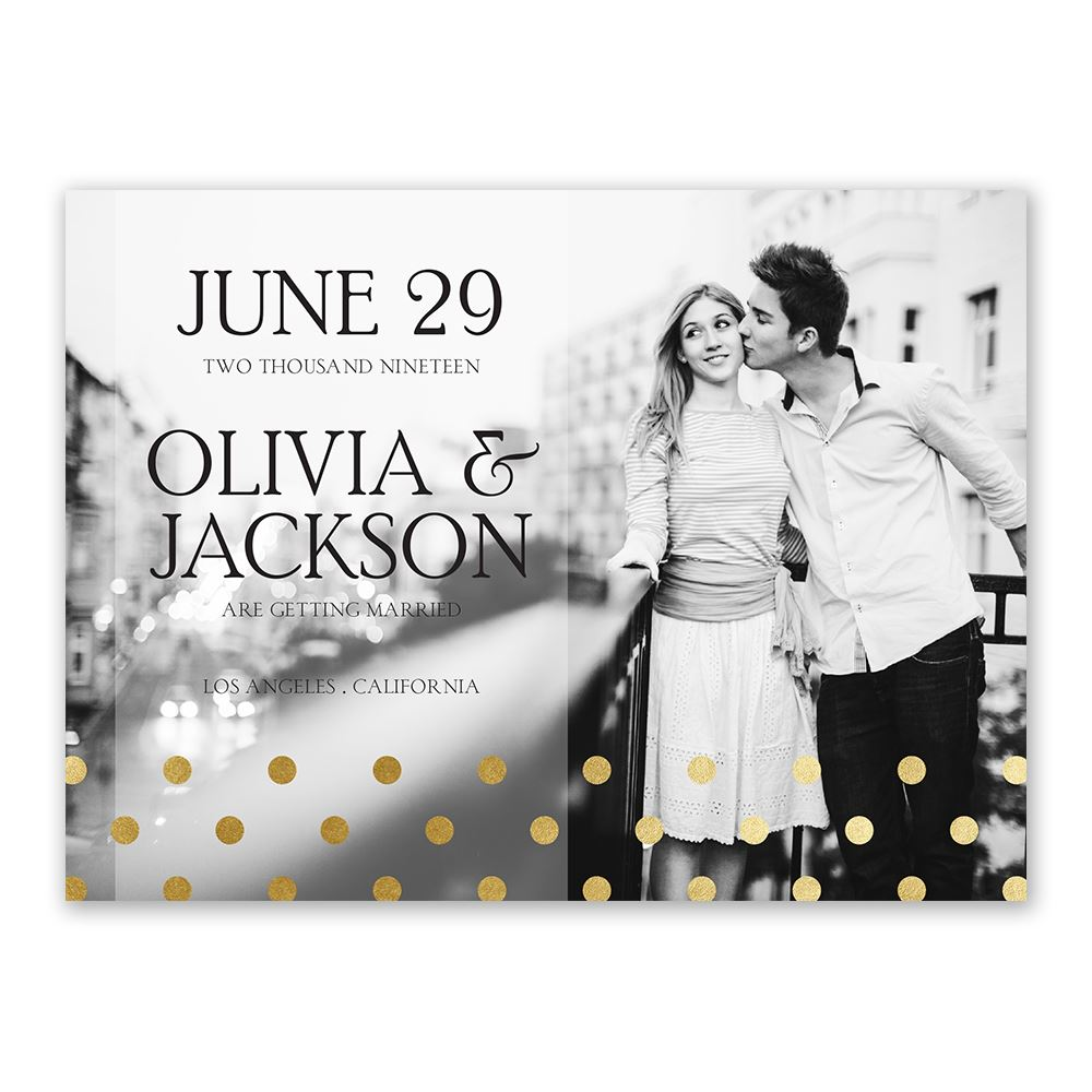 Hello Contempo Foil Save The Date Card Invitations By Dawn