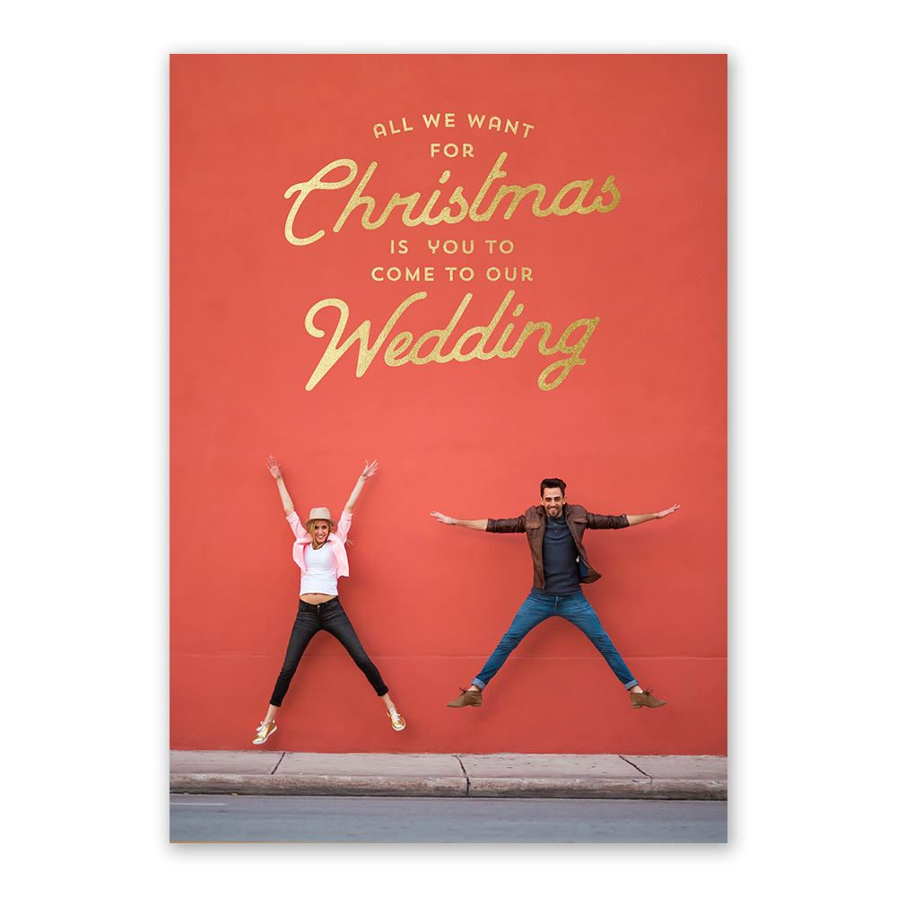 We Want You Foil Holiday Card Save The Date Invitations