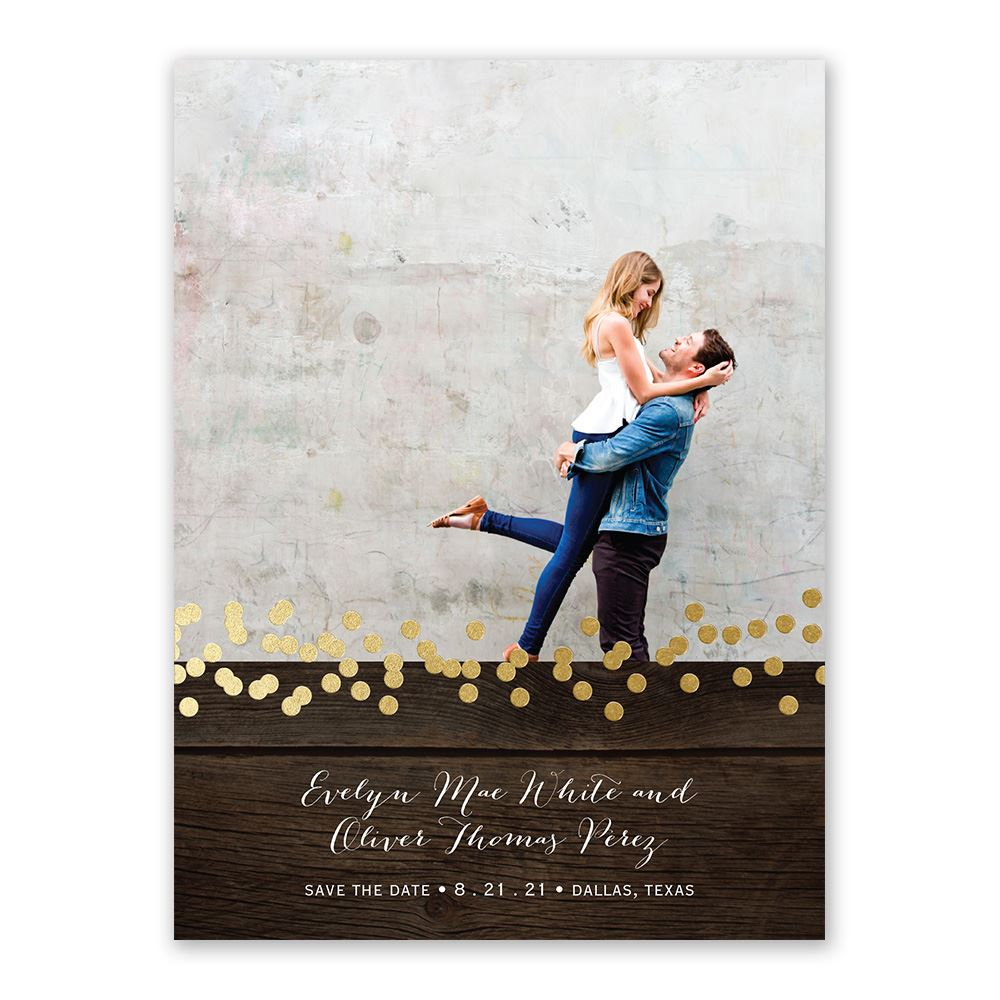 Rustic Beauty Foil Save The Date Card Invitations By Dawn