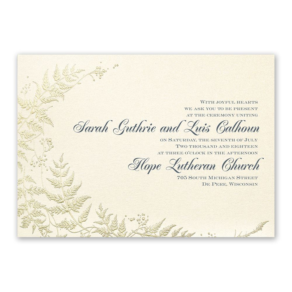 Ferns Of Gold Invitation Invitations By Dawn