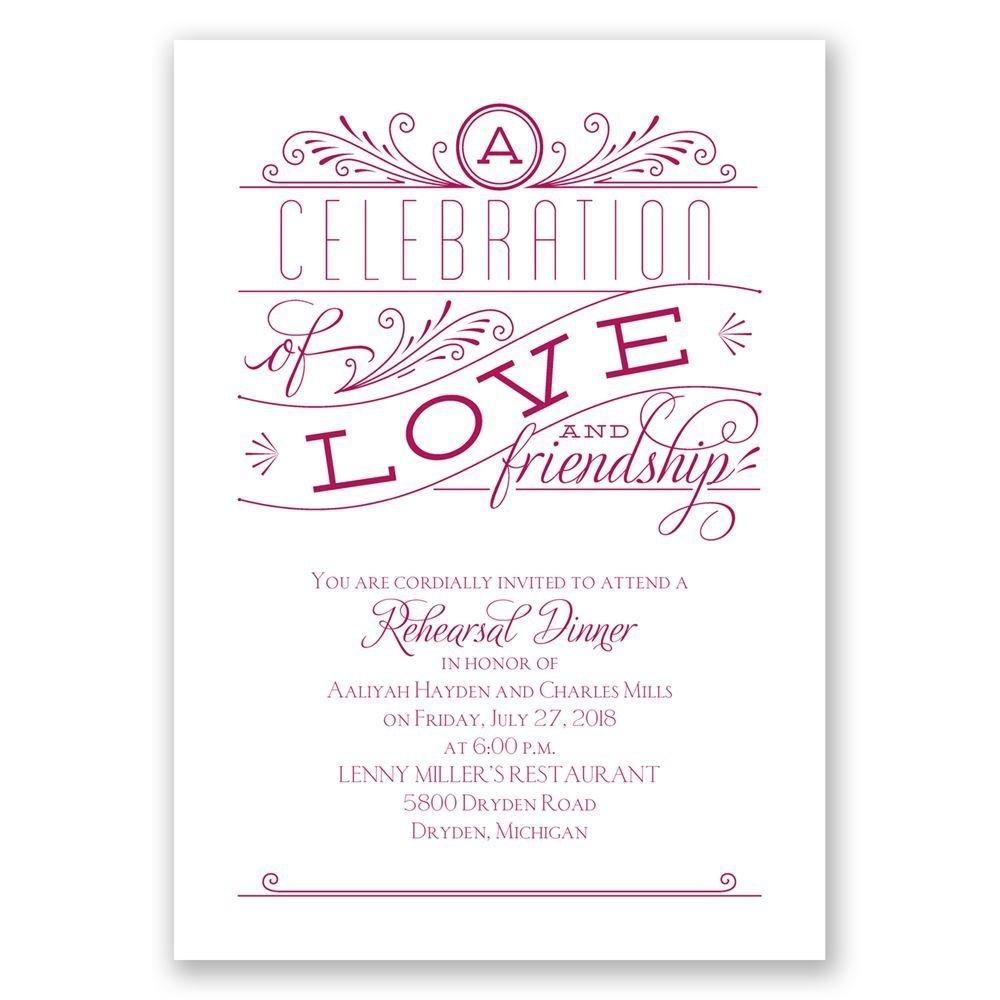 Love And Friendship Rehearsal Dinner Invitation