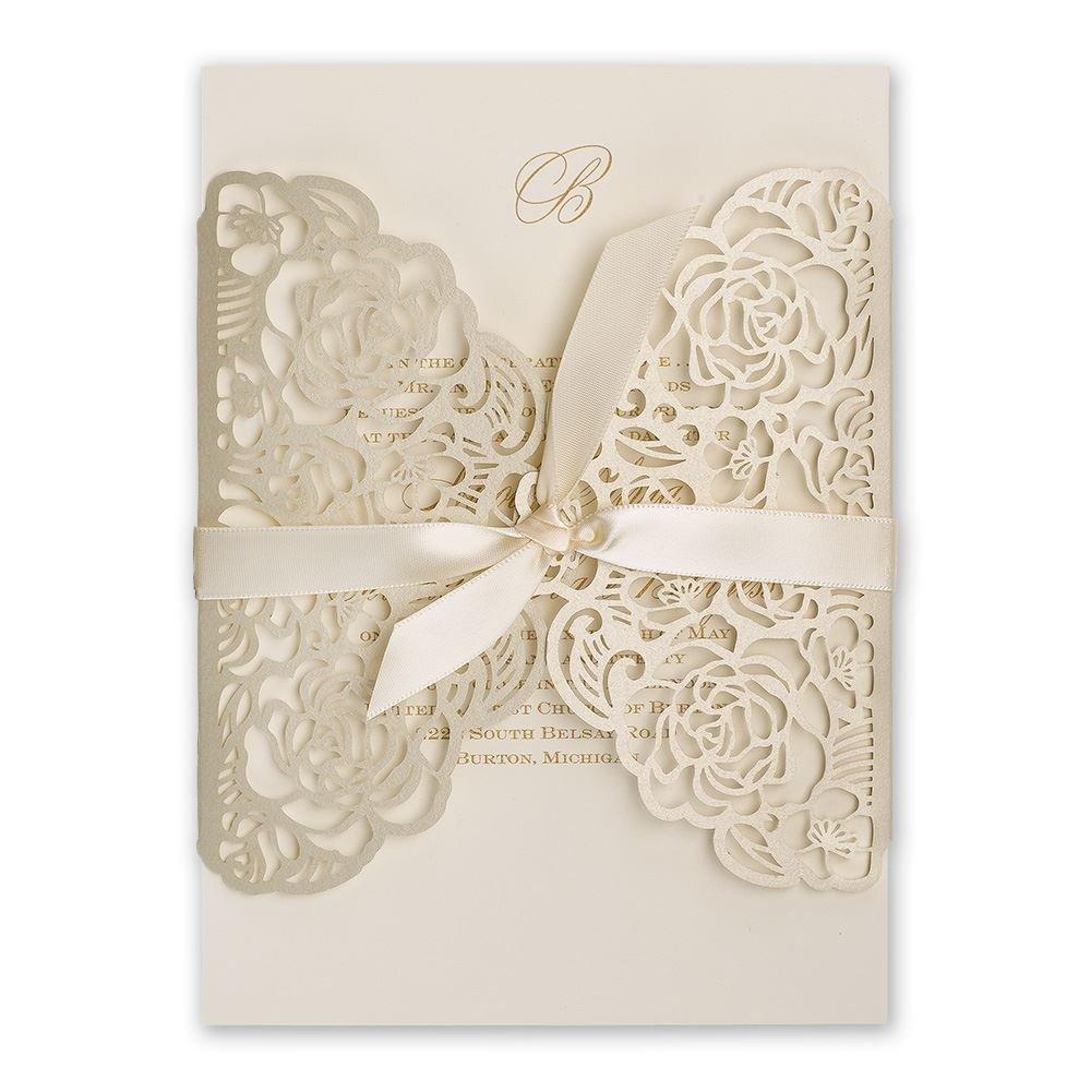 Pre Cut Ribbon Wedding Invitations
