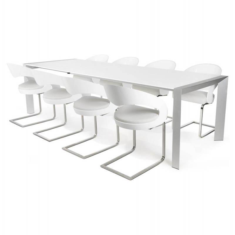 table design avec rallonge fiona en bois laque et aluminium brosse 190 270cmx95cmx75cm blanc table de salle a manger et table haute