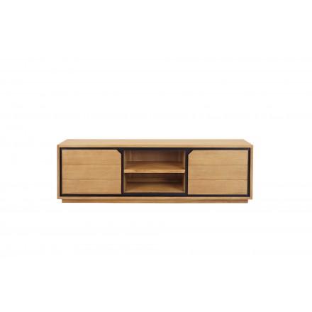 meuble tv en teck massif 2 portes 2 niches jenna 150 cm naturel