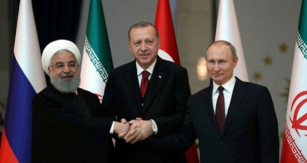 Los presidentes de Irán, Turquía y Rusia, Hasán Rohaní, Recep Tayyip Erdogan y Vladímir Putin