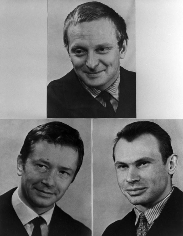 Manóvtsev, Bozhko y Ulibíshev, los participantes del experimento de aislamiento extremo llevado a cabo en la URSS entre 1967 y 1968