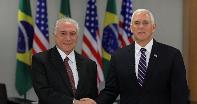 El presidente de Brasil, Michel Temer, y el vicepresidente de EEUU, Mike Pence