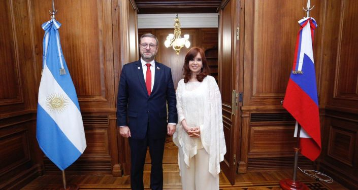 La vicepresidenta de Argentina, Cristina Fernández recibe a Konstantin Kosachev, presidente del Comité de Asuntos Internacionales del Parlamento de Rusia