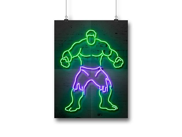 Octavian Mielu Neon Illusion Wall Art Hulk 12x16 Cracked Shop