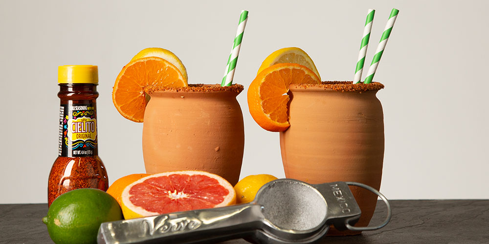Two clay cocktail mugs, citrus and Cielito chili salt blend
