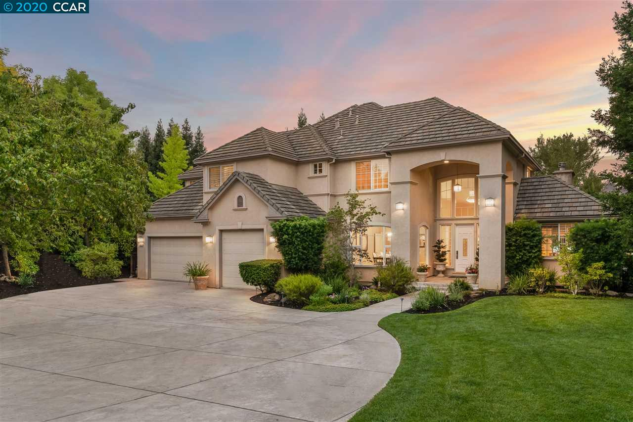 Gorgeous upgraded home on private st. in desirable Alamo, just minutes to Roundhill CC. Built to entertain, stunning home features dream backyard w/sparkling pool & spa, pavilion w/built-in kitchen, tv, heaters, surround sound, bar seating & stone patio w/fire pit, perfect for relaxing w/friends & family. Open floor plan boasts grand entryway w/soaring ceilings, elegant dining room, living room w/gas fireplace & upgraded kitchen, dining nook & family room w/fireplace & wet bar. Beautifully appointed Chef's kitchen boasts granite countertops, white cabinetry, stainless steel appliances, walk-in pantry & oversized center island w/bar & prep sink. Stunning elements include hardwood floors, plush carpet & plantation shutters. 2 desirable downstairs bedrms, one w/french doors perfect as office & other w/full bath great for hosting guests. 4 upstairs bedrms including master retreat & oversized bedrm perfect for bonus/media room. Close to shopping, dining, trails, top-rated schools & freeway.