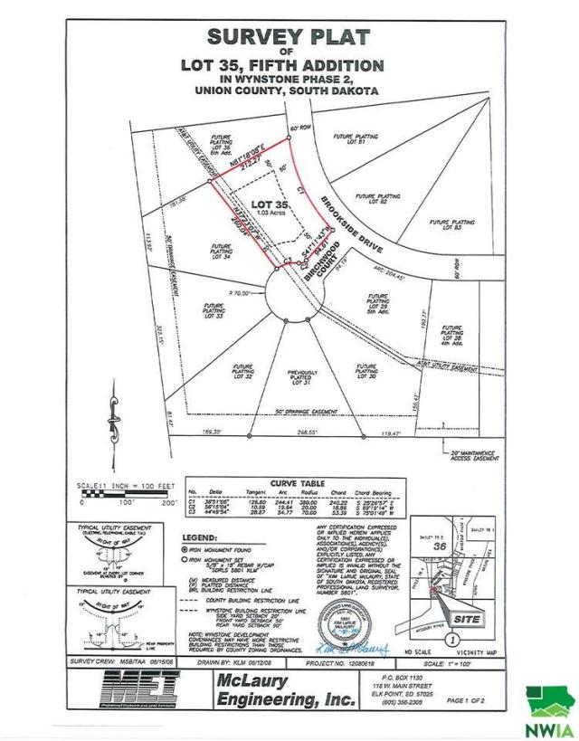 Property for sale at Lot 35 Birchwood Court, Jefferson,  SD 57038